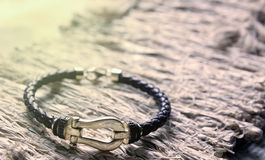 Free Gold And Leather Bracelet Royalty Free Stock Image - 92702626