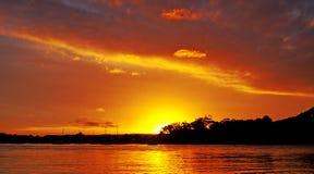 Free Gold And Orange Coloured Nimbostratus Cloudy Coastal Sunset Seas Royalty Free Stock Photos - 160796278
