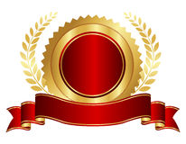 Gold And Red Seal With Ribbon Stock Image