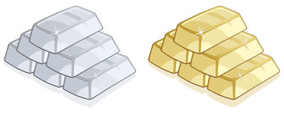 Gold And Silver Bars Royalty Free Stock Images