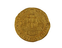 Gold Angel of Elizabeth I. Old gold Angel hammered coin of Elizabeth I minted 1590-1592 showing ship with royal shield royalty free stock photos