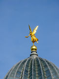 Gold angel on the roof in Dresden Stock Photography