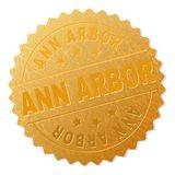Gold ANN ARBOR Medallion Stamp. ANN ARBOR gold stamp award. Vector gold award with ANN ARBOR caption. Text labels are placed between parallel lines and on circle stock illustration