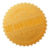 Gold 100 ANNIVERSARY Medal Stamp. 100 ANNIVERSARY gold stamp seal. Vector golden medal of 100 ANNIVERSARY text. Text labels are placed between parallel lines and vector illustration