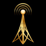 Gold antenna icon Royalty Free Stock Photography