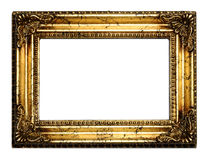 Gold antique frame. With clipping path over white background royalty free stock photos