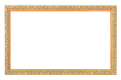 Gold antique frame. Isolated on white Stock Photo