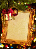 Gold antique frame, abstract bokeh background Stock Photos