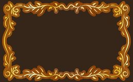 Gold Antique Frame on Brown Background. Gold classical antique decorative frame on brown backgroung. To be used for holidays, celebrations or happy events Stock Photography