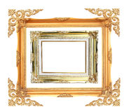 Gold antique frame with clipping path over white b Royalty Free Stock Photo