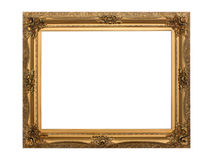 Gold antique frame isolated with clipping path Stock Images