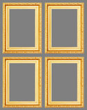 Gold antique frame isolated on gray background. Royalty Free Stock Image