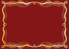Gold Antique Frame With Laces. Gold classical antique decorative frame with laces on red backgroung. To be used for holidays, celebrations or happy events Royalty Free Stock Photography