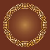 Gold Antique Frame on Orange Background. Gold classical circular antique decorative frame on brown backgroung. To be used for holidays, celebrations or happy Stock Image