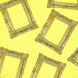 Gold Antique Photo Frames Collage on Yellow Background Stock Photo