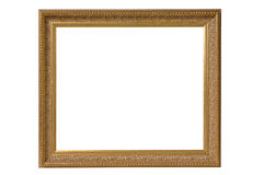 Gold Antique Picture Frame wit. Gold Picture Frame on White Stock Images