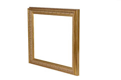 Gold Antique Picture Frame wit. Gold Picture Frame on White Stock Photography