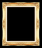 Gold antique picture frames. Isolated on black Stock Photography