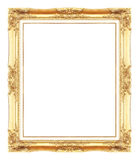 Gold antique picture frames. Isolated on white Royalty Free Stock Image