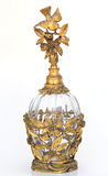 Gold antique vintage perfume bottle bird & dogwood Stock Images