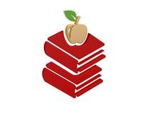 Gold apple books. Symbol  isolated on white background Stock Photography