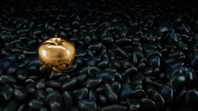 Gold apple. Gold apple concept. 3d rendering Stock Photo
