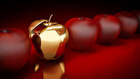 Gold apple. Gold apple concept. 3d rendering Stock Photography