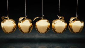 Gold apple. Gold apple concept. 3d rendering Royalty Free Stock Photos