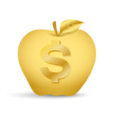 Gold apple. Golden Apple with the image of dollar Royalty Free Stock Images