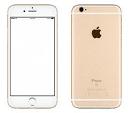 Gold Apple iPhone 6s mockup front view and back side Stock Photography