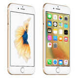 Gold Apple iPhone 6S slightly rotated front view with iOS 9 Stock Photos