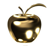 Gold apple with leaf Royalty Free Stock Photos