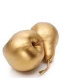 Gold apple and pear Royalty Free Stock Image