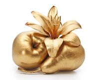 Gold apple, pear and flower Stock Photo