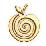 Gold apple symbol. Gold apple spiral symbol isolated on white background Royalty Free Stock Image