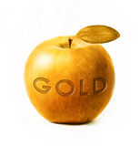 Gold apple with text Royalty Free Stock Image