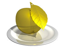 Gold apple on a white plate isolated on white background. 3d rendering - the golden apple on a white plate isolated on white background Stock Photos