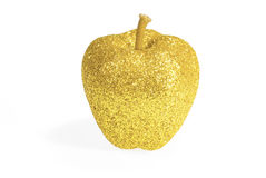 Gold apple xmas decoration on white Stock Images