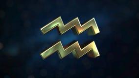Gold Aquarius Zodiac sign, 3D rendering. Gold Zodiac sign, part of the set. 3D vector illustration