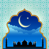 Gold arab window art and masjid at night vector design Stock Images