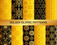 Gold Arabic or patterns set for backgrounds and textures Stock Photo