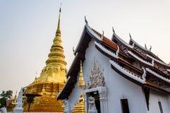 Gold architecture. Wat Phra Chae Haeng ,Nan Thailand Royalty Free Stock Image