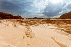 Gold arid desert landscape Sinai, Egypt. Gold arid desert landscape on Sinai, Egypt Royalty Free Stock Image