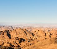 Gold arid desert landscape Sinai, Egypt Royalty Free Stock Images