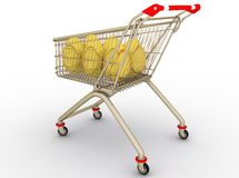 Gold arise in shopping cart Royalty Free Stock Photography