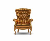 Gold  armchair. Over the white background (3D Royalty Free Stock Photography