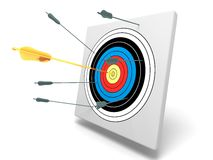 Gold arrow in center with other bad arrows Stock Photos