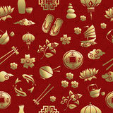 Gold asia culture icon seamless pattern chinese Royalty Free Stock Photo