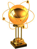 Gold atom on a stand Stock Photo