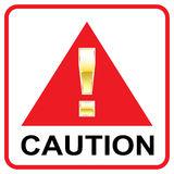 Gold Attention mark on red sign Caution vector triangle Stock Photography